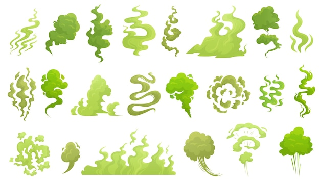 Smelling smoke. bad smell cloud, green stink aroma and stinky smoke cartoon illustration set.