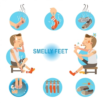 Smelly feet in circle set.