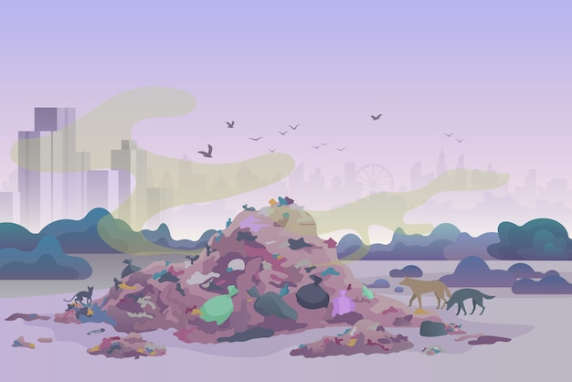 Smelly stinking littering waste dump landfill with cats and dogs and city skyline on the background