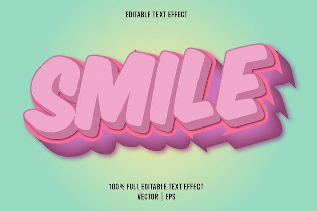 Smile 3 dimension text effect pink color