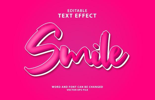 Улыбка 3d редактируемый красочный текстовый эффект