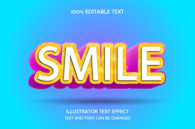 Smile ,3d editable text effect modern comic style