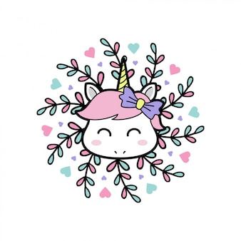 Smile baby unicorn with floral mandala