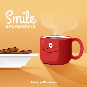 Smile background with happy coffee cup