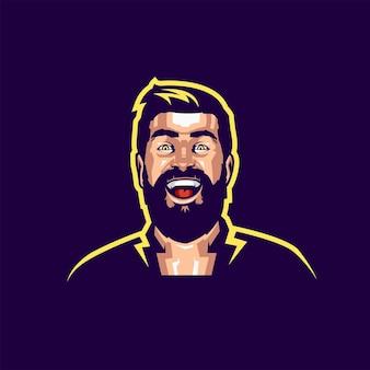 Улыбка борода логотип с вектором