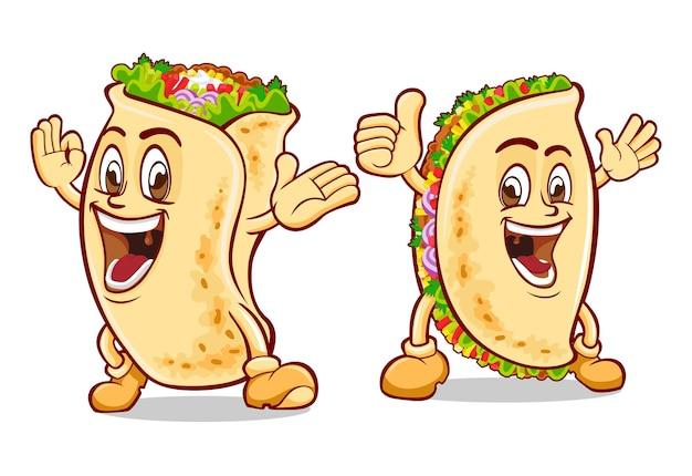 Smile burrito and taco mascot design