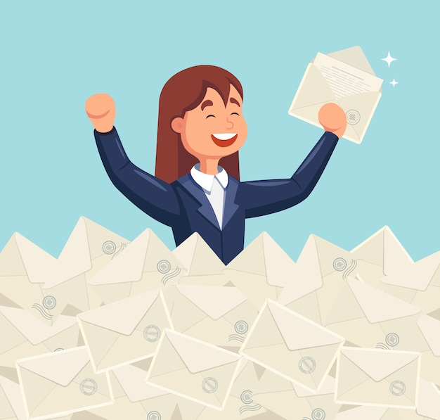 Smile business woman found the right letter in a heap of emails. direct mail, email, spam concept