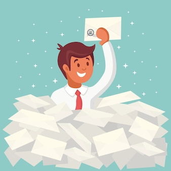 Smile businessman found the right letter in a heap of emails. direct mail, email, spam concept