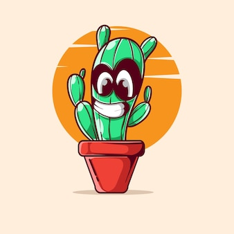 Smile cactus  character illustration