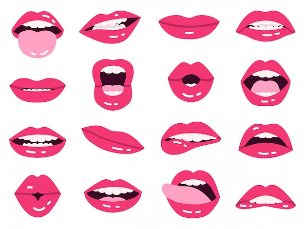 Smile cartoon lips. beautiful pink lips, kissing, show tongue, smiling with teeth expressive mouth, girls lips   illustration set. hot impudent and pink lips lady set