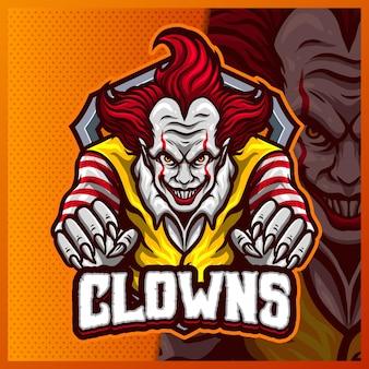 스마일 광대 마스코트 esport 로고 디자인 일러스트 템플릿, 팀 게임을위한 소름 끼치는 로고