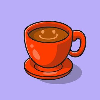スマイルコーヒー漫画ベクトルアイコンイラスト。食べ物や飲み物のアイコンの概念分離プレミアムベクトル。フラット漫画スタイル