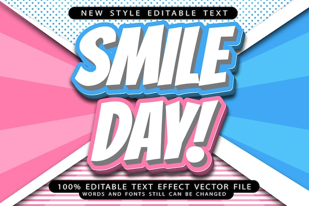 Smile day editable text effect emboss cartoon style