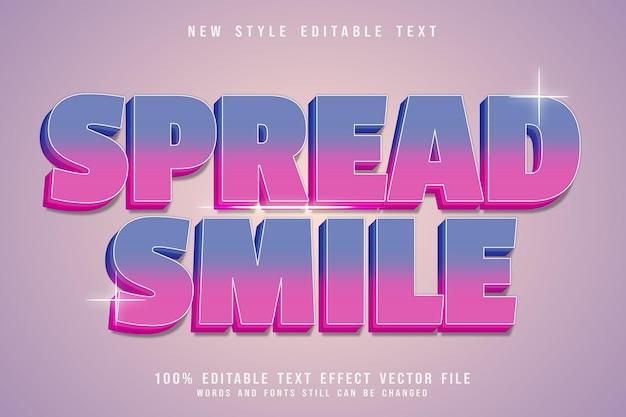 Редактируемый текстовый эффект дня улыбки с тиснением в современном стиле