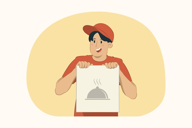 Улыбка доставки молодой человек держит крафт-бумажный пакет с концепцией еды