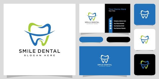 笑顔の歯科ロゴベクトルデザインと名刺 Premiumベクター