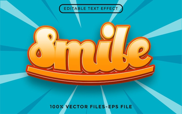 Smile editable text effect premium vectors