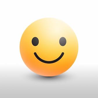 흰색 배경에 소셜 미디어 네트워크에 대 한 이모티콘 3d 현대 아이콘 미소