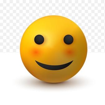 Smile emoji 3d of social media reaction emoticon on white transparent background