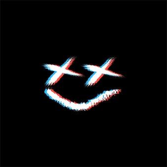 グリッチ効果のある笑顔の絵文字デザイン
