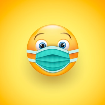 Smile emoticon in protective surgical mask.