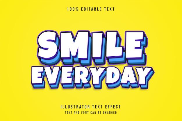 Улыбайтесь каждый день, редактируемый текстовый эффект с 3d-эффектом, фиолетовый градиент, синий, комический слой, стиль текста