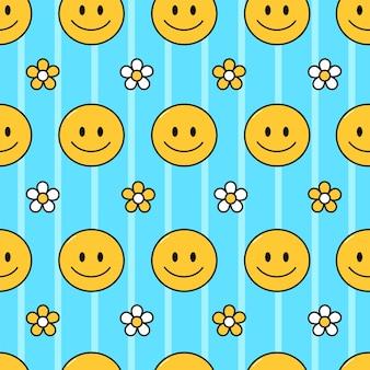 미소 얼굴과 꽃 원활한 패턴 벡터 손으로 그린 낙서 만화 캐릭터 그림