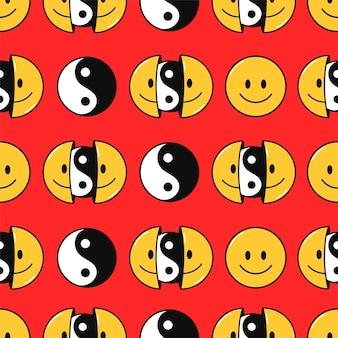 미소 얼굴과 음양 완벽 한 패턴입니다. 벡터 손으로 그린 낙서 90년대 스타일 만화 캐릭터 그림. t셔츠, 포스터, 카드 원활한 패턴 개념을 위한 스마일 음과 양 얼굴 인쇄