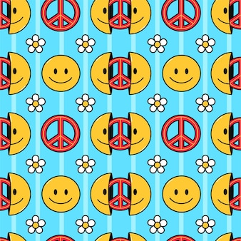 Smile face, peace pacifism sign seamless pattern. vector hand drawn doodle cartoon character illustration.smile face,hippie peace pacifist sign print for t-shirt,poster,card seamless pattern concept