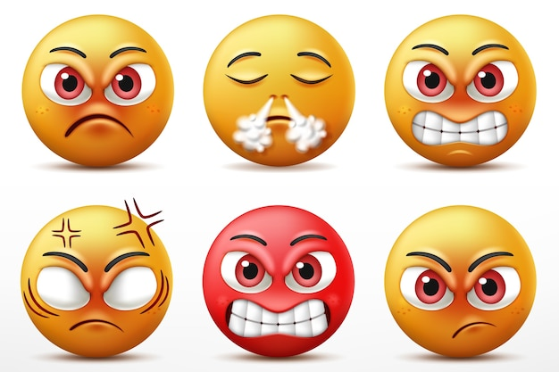 笑顔の顔文字文字セット、怒りと激怒のかわいい黄色い顔の表情。図