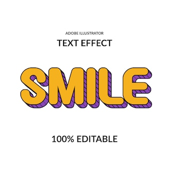 Smile fun comic round yellow purple and line editable   font effect for kids display