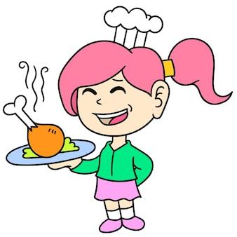 요리사로 봉사하는 미소 소녀