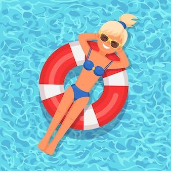 笑顔の女の子がプールで泳ぐイラスト