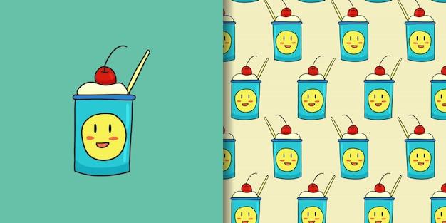 シームレスパターンと笑顔のアイスクリーム