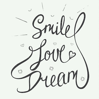 Smile, love, dream with little hearts