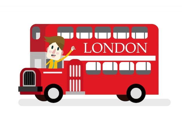 赤い男と微笑んで、小型のロンドンルートマスターバスをキャストしてください。フラットデザイン