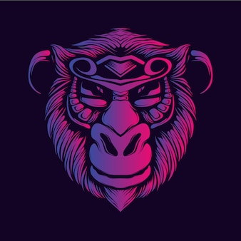 Smile monkey face glow color artwork