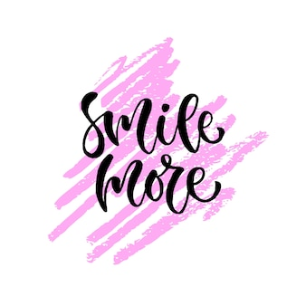 Smile more. Vector hand lettering. Modern inspirational hand lettered quote. Printable calligraphy phrase. T-shirt print design