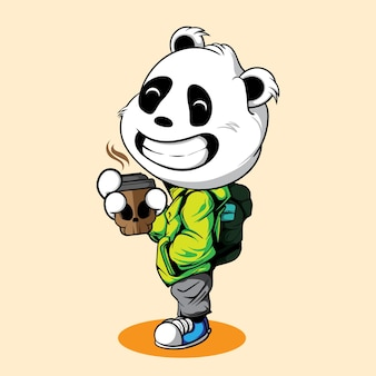 Smile panda with skull coffee cup