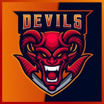 현대 일러스트와 함께 붉은 악마 esport 및 스포츠 마스코트 로고 디자인 미소. 불 악마 그림