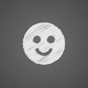 Улыбка эскиз логотипа каракули значок, изолированные на темном фоне