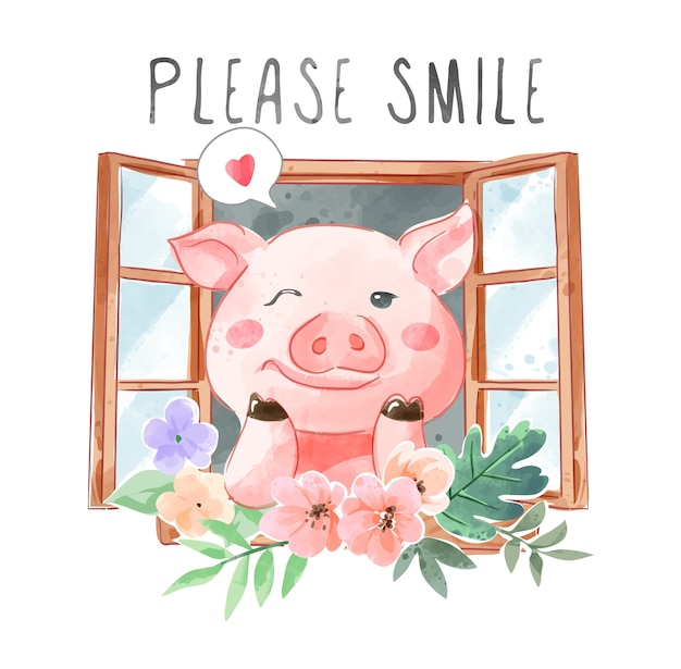Слоган улыбки и милая свинья в окне и цветочная иллюстрация