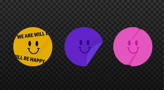 The smile stickers collection. the old template for modern designs.