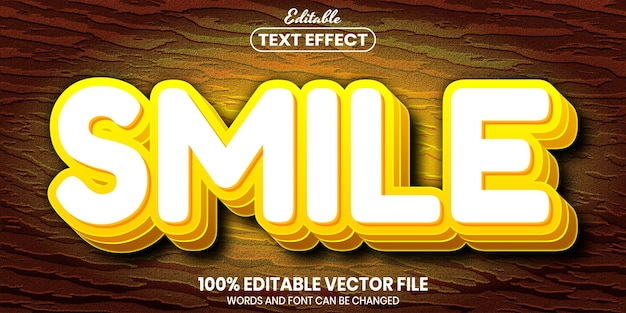 Smile text, font style editable text effect
