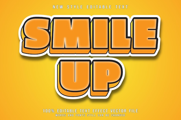 Smile up editable text effect emboss cartoon style