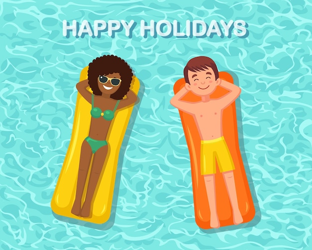 笑顔の女性、男性が泳ぐ、プールのエアマットレスで日焼け