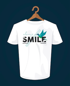 Smile word shirt print wear with bird in clothespin illustration design