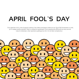 Smile yellow faces fool day april holiday greeting card