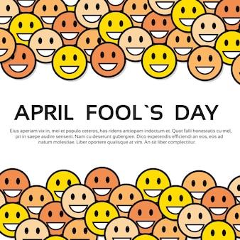 笑顔黄色の顔fool day 4月ホリデーグリーティングカード