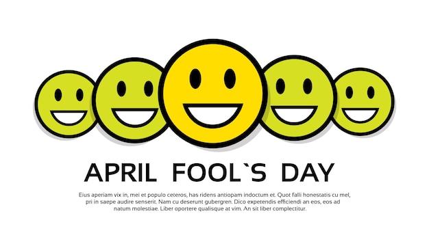 笑顔の黄色い顔fool day 4月の休日の挨拶